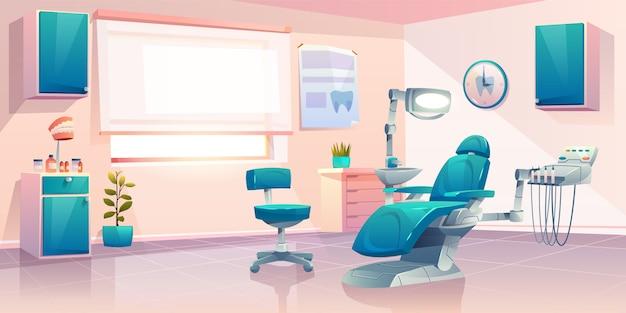 Ilustración moderna de la historieta de la oficina del dentista