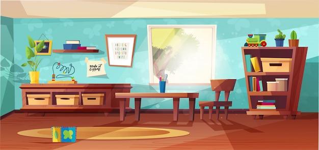 Ilustración moderna de la sala de jardín de infantes con muebles, luz del sol desde la ventana y juguetes para niños. guardería para niños, niños pequeños. diseño de estilo plano. preescolar.