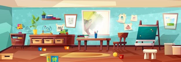 Ilustración moderna de la sala de jardín de infantes con muebles, luz del sol desde la ventana y juguetes para niños.