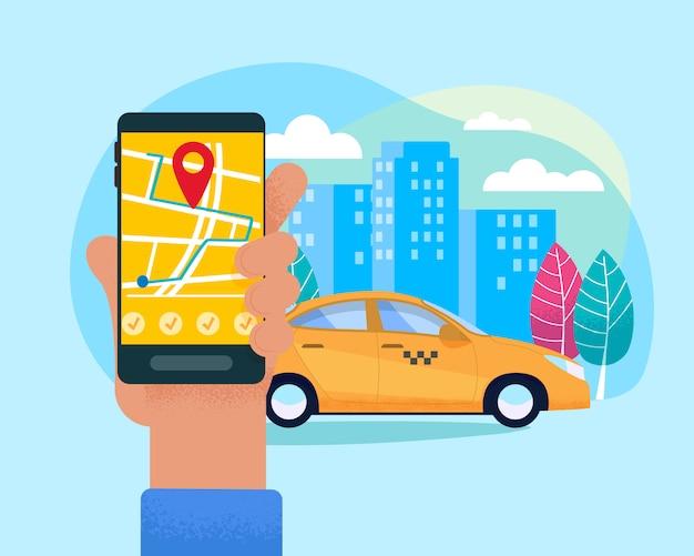 Ilustración moderna del servicio en línea del taxi.