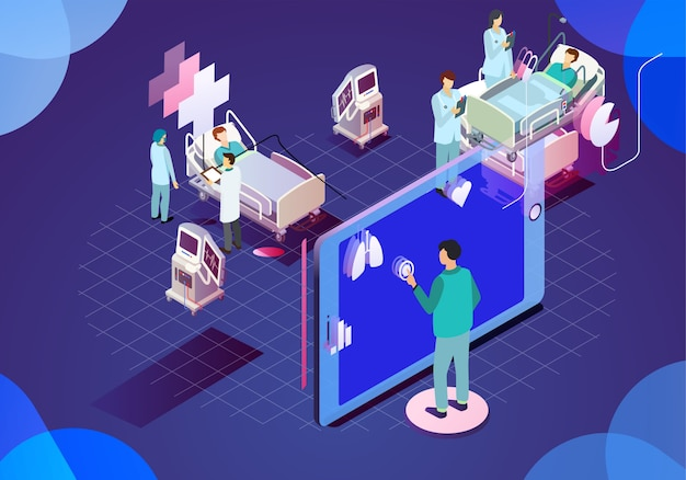 Ilustración moderna tecnología médica
