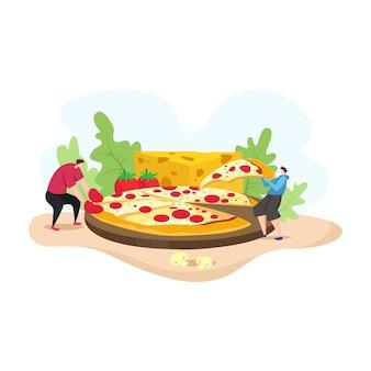 Ilustración de moderno con gente come pizza