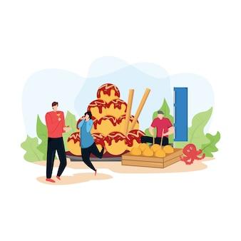 Ilustración de moderno con pareja comer takoyaki