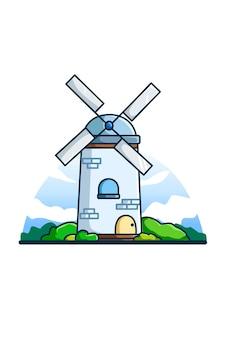 Ilustración de molino de viento al mediodía.