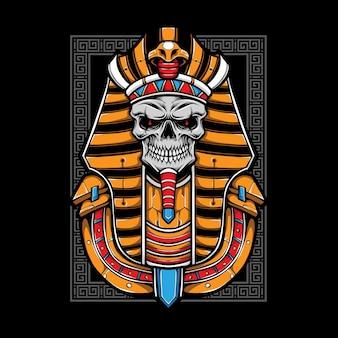 Ilustración de momia de cráneo egipcio