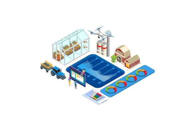 Ilustración de monitoreo de tecnología de agricultura isométrica moderna