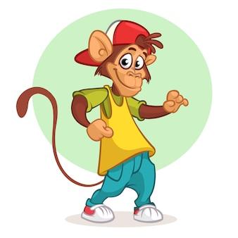 Ilustración de mono gracioso de dibujos animados