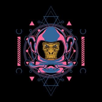 Ilustración de mono retro espacio con geometría sagrada