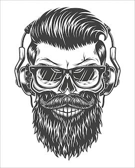 Ilustración monocroma de cráneo
