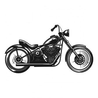 Ilustración monocroma de una motocicleta aislada en blanco.