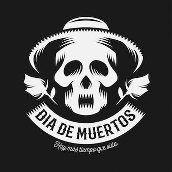 Ilustración monocromática del día mexicano de los muertos.