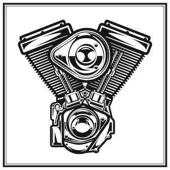 Ilustración monocromo de motor de motocicleta estilo monocromo