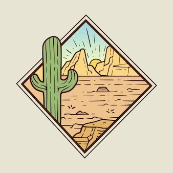 Ilustración de monoline paisaje desértico