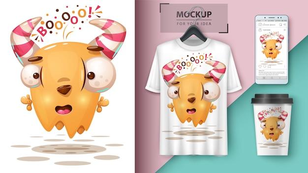 Ilustración del monstruo loco para la taza, la camiseta y el fondo de pantalla del teléfono inteligente