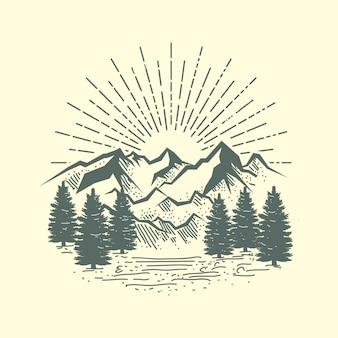 Ilustración de montaña y bosque