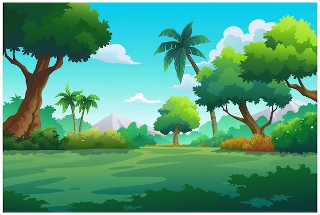 Ilustración montaña y cielo color brillante.