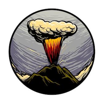 Ilustración de montaña en erupción