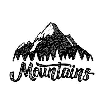 Ilustración de montaña con letras a mano.