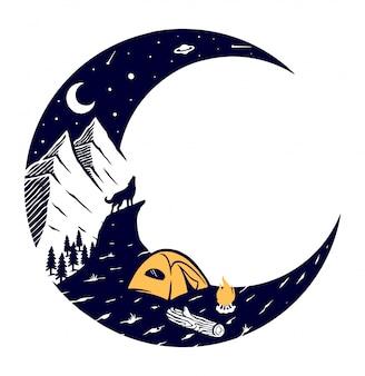 Ilustración de montaña y luna