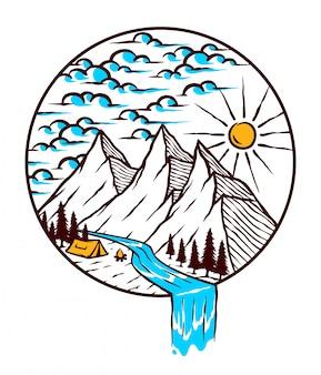 Ilustración de montaña de naturaleza