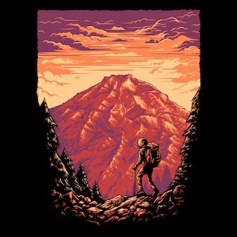 Ilustración de montaña senderismo