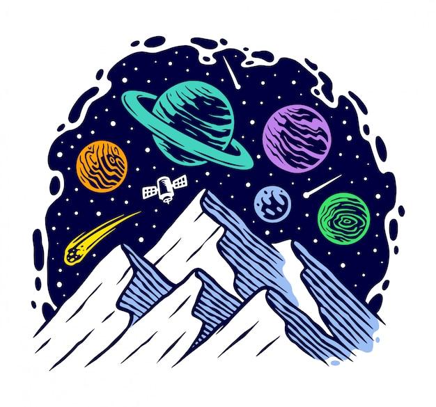 Ilustración de la montaña en el universo