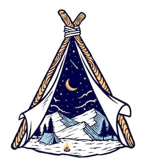Ilustración de montañas y carpas