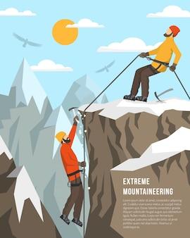Ilustración de montañismo extremo