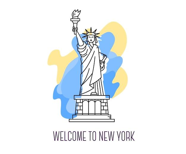 Ilustración del monumento de ee.uu.estatua de la libertad, nueva york, hito