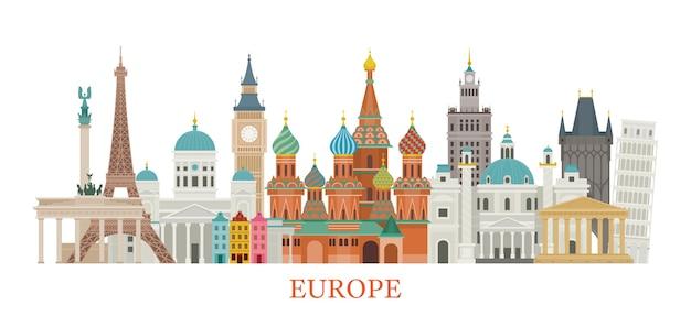 Ilustración de monumentos de europa