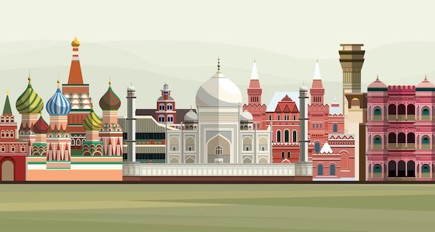 Ilustración de los monumentos famosos del mundo