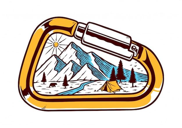 Ilustración de mosquetón y montaña
