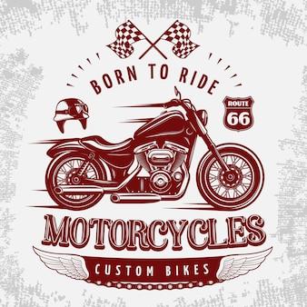 Ilustración de motocicleta gris con bicicleta vinosa en carretera y titular nacido para conducir