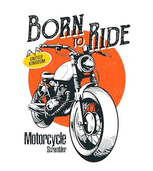 Ilustración de motos scrambler