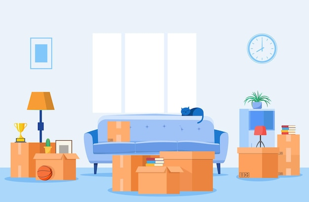 Ilustración en movimiento del interior de una casa con cajas de cartón de papel.