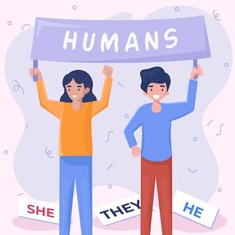 Ilustración de movimiento neutral de género
