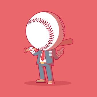 Ilustración de mr. home run. béisbol, deportes, concepto de diseño de mascota.