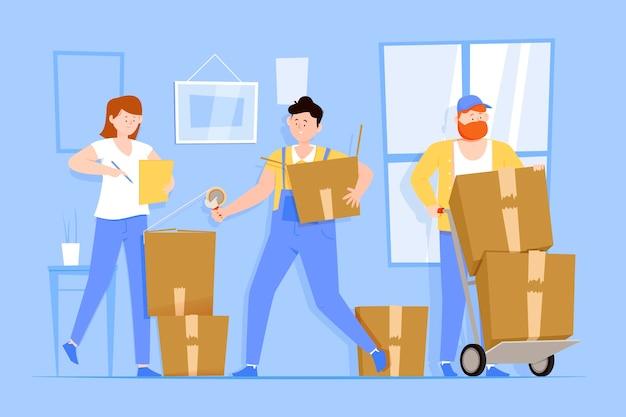 Ilustración de mudanza de casa de diseño plano con personajes