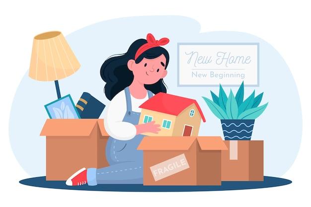Ilustración de mudanza de casa