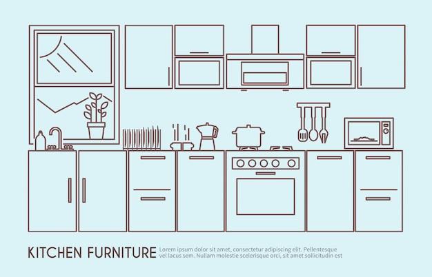 Ilustración de muebles de cocina