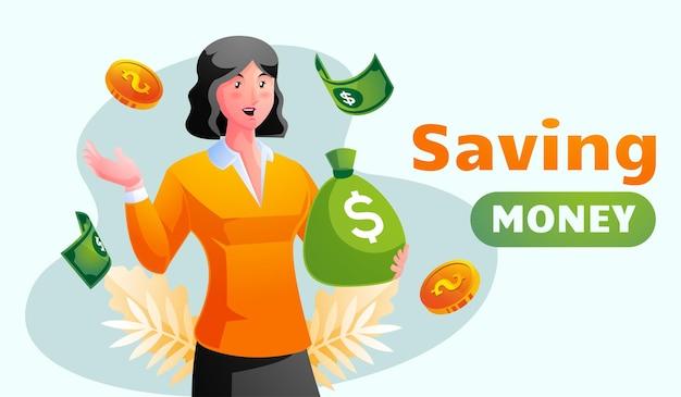 Ilustración de mujer ahorrando dinero
