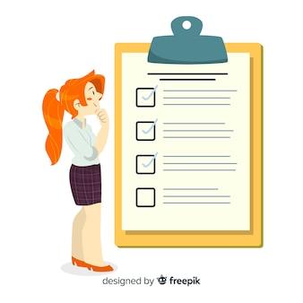 Ilustración mujer analizando lista de comprobación