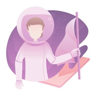 Ilustración de mujer astronauta con espacio de traje de hombre usando sosteniendo una bandera