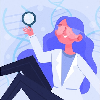Ilustración de mujer científico