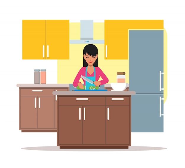 Ilustración de mujer cocinando ensalada, rodajas de pepino, diseño plano