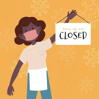 Ilustración de mujer colgando un letrero cerrado