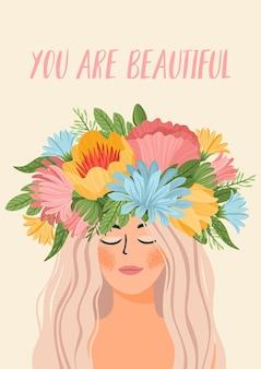 Ilustración con mujer en corona de flores y texto eres hermosa
