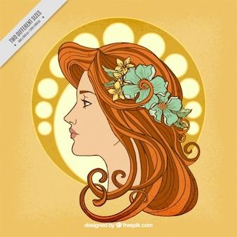 Ilustración de mujer dibujada a mano con detalle floral
