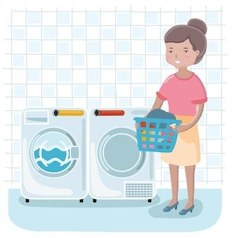 Ilustración de mujer de dibujos animados lindo en la lavandería sosteniendo la canasta en sus manos