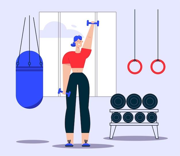 Ilustración de mujer haciendo ejercicios con mancuernas. saco de boxeo, aros de gimnasia, estanterías de material deportivo en gimnasio. estilo de vida saludable, ejercicios de fuerza, adelgazamiento.